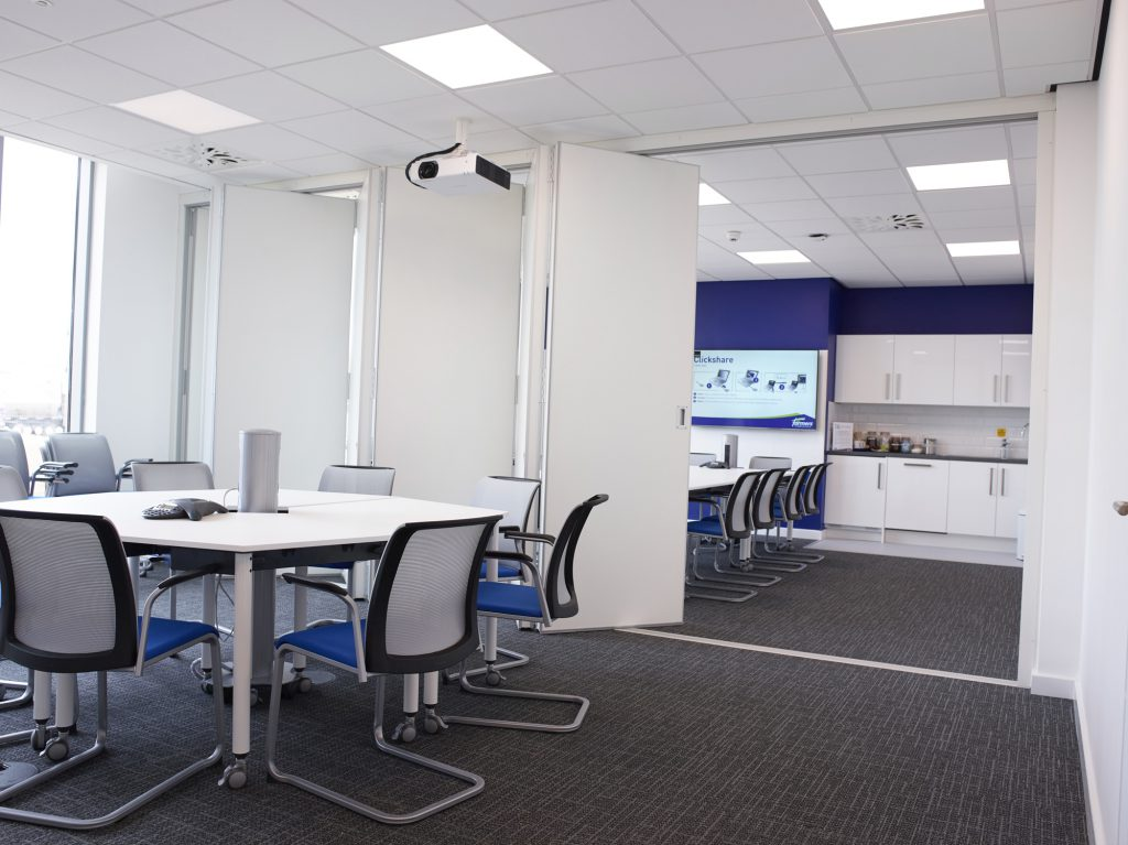 Video conference room design at an agribusiness office in Suffolk.